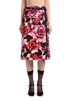 Prada Rose-Print Poplin A-Line Skirt