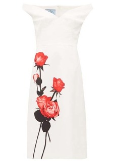Prada Rose-print sweetheart-neckline cotton dress