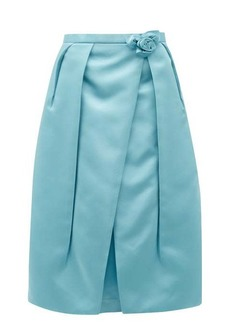 Prada Rosette-waist duchess satin skirt