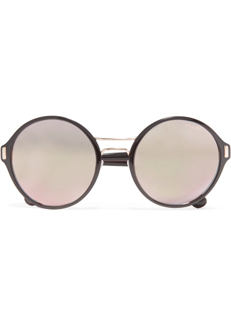 1c8a9deee297 SALE! Prada Round-frame acetate and gold-tone mirrored sunglasses