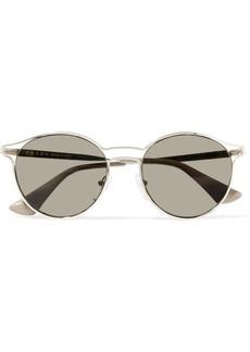 Prada Round-frame gold-tone mirrored sunglasses