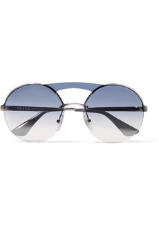 Prada Round-frame silver-tone sunglasses