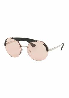 Prada Round Metal Sunglasses w/ Contrast Trim