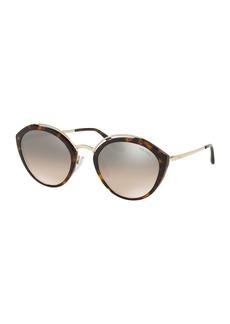 Prada Round Mirrored Acetate & Metal Sunglasses