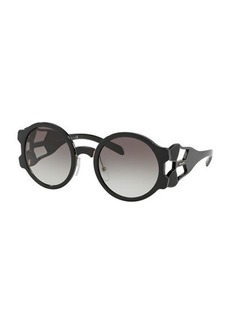 Prada Round Mirrored Sunglasses with Cutout Temples