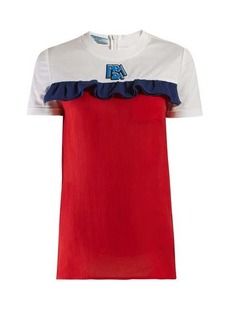Prada Ruffle-trimmed cotton and silk-chiffon T-shirt