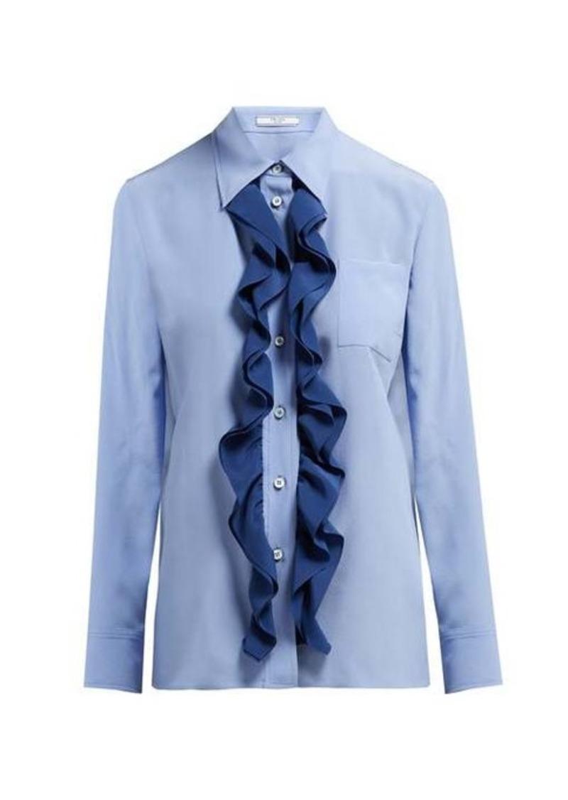 Prada Ruffle-trimmed silk blouse