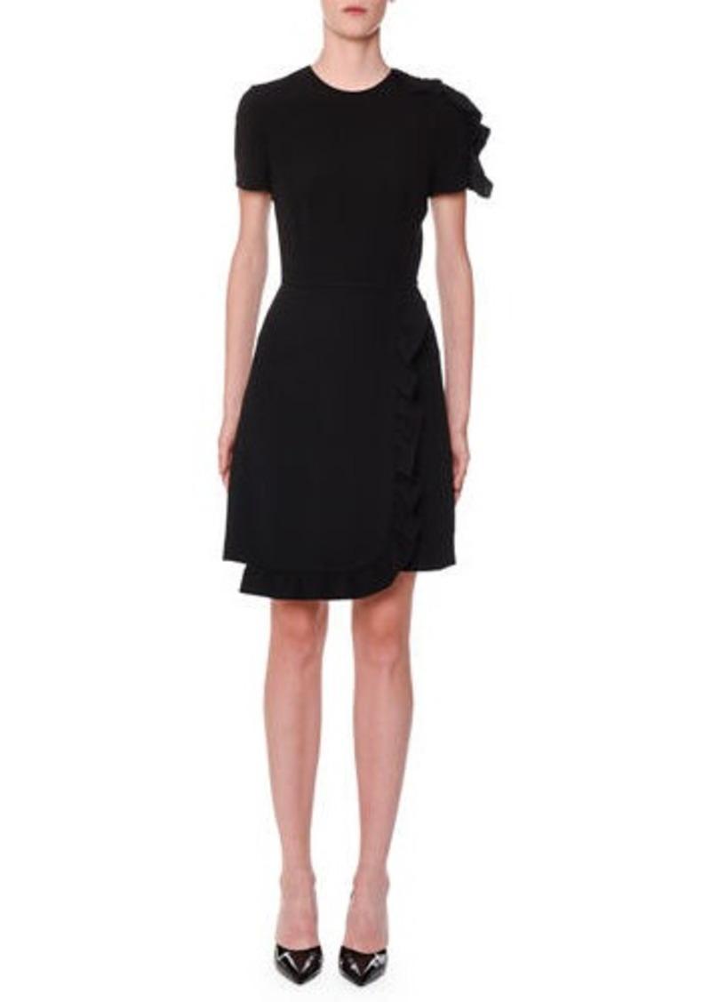 Prada Ruffle-Trimmed Wrap-Skirt Dress