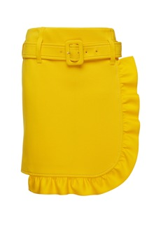 Prada Ruffled Crepe Mini Skirt