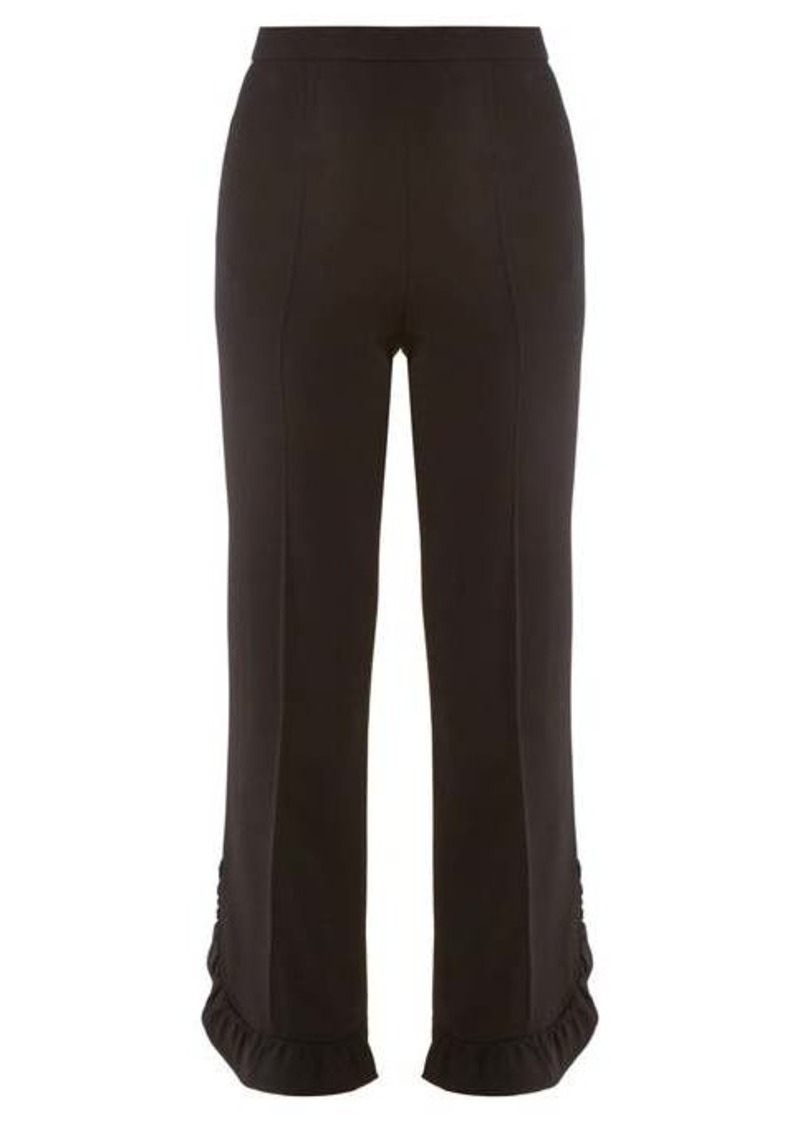 Prada Ruffled cropped crepe trousers