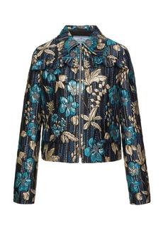 Prada Ruffled Floral Brocade Jacket