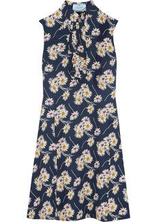 Prada Ruffled floral-print crepe dress