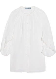 Prada Ruffled lace-trimmed silk crepe de chine blouse