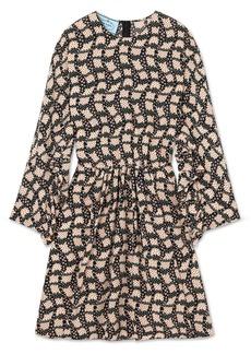 Prada Ruffled Printed Silk Crepe De Chine Mini Dress