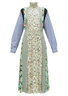 Prada Sable patchwork-print pleated crepe dress