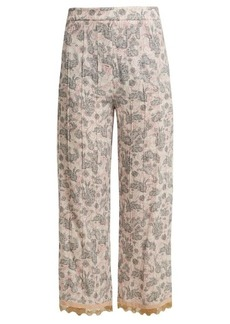 Prada Sable rabbit-print stretch-crepe cropped trousers
