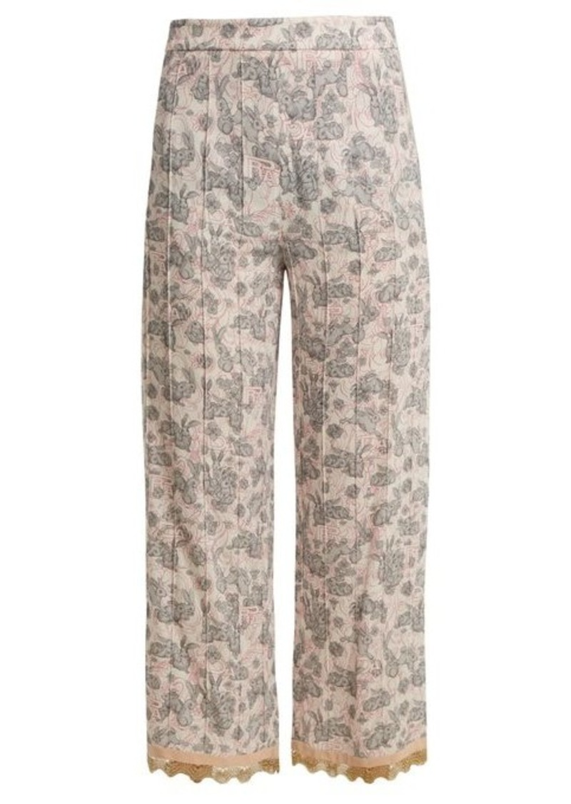 Prada Sable rabbit-print stretch-crepe cropped trousers