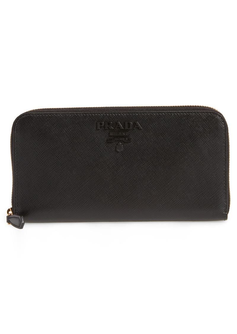 Prada Monochrome Zip Around Wallet