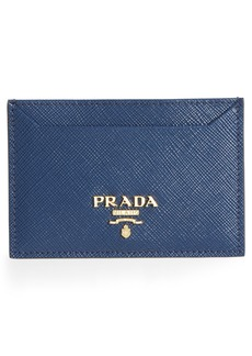 Prada Saffiano Metal Oro Calfskin Leather Card Case