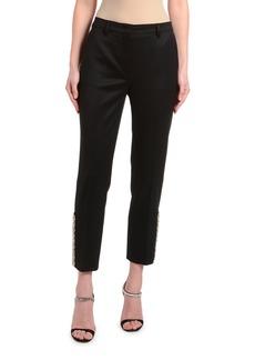 Prada Satin Mosaic Straight-Leg Pants with Crystal Hem