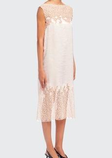 Prada Satin Pizzo Lace Bateau-Neck Dress
