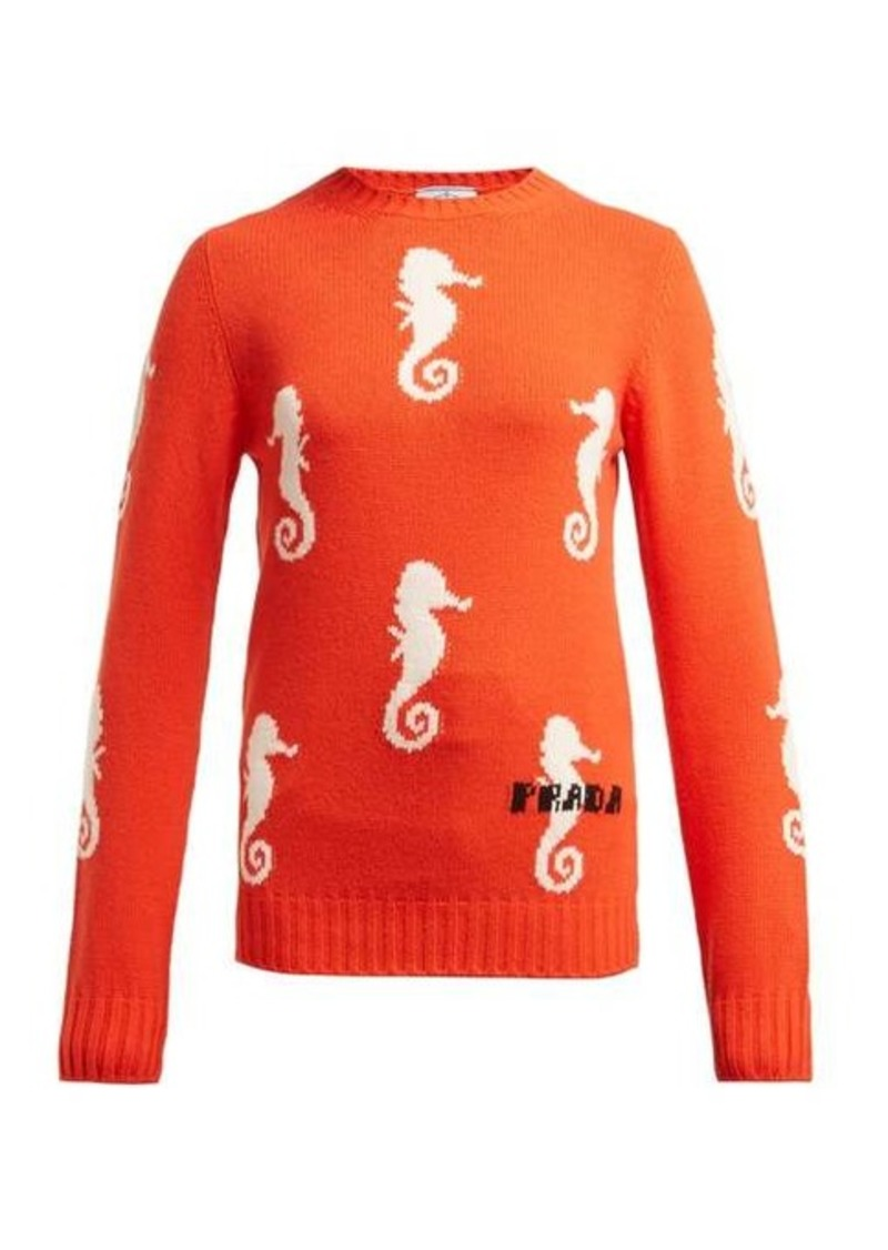 Prada Seahorse-intarsia wool-blend sweater