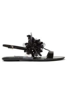 Prada Sequin-embellished slingback leather sandals