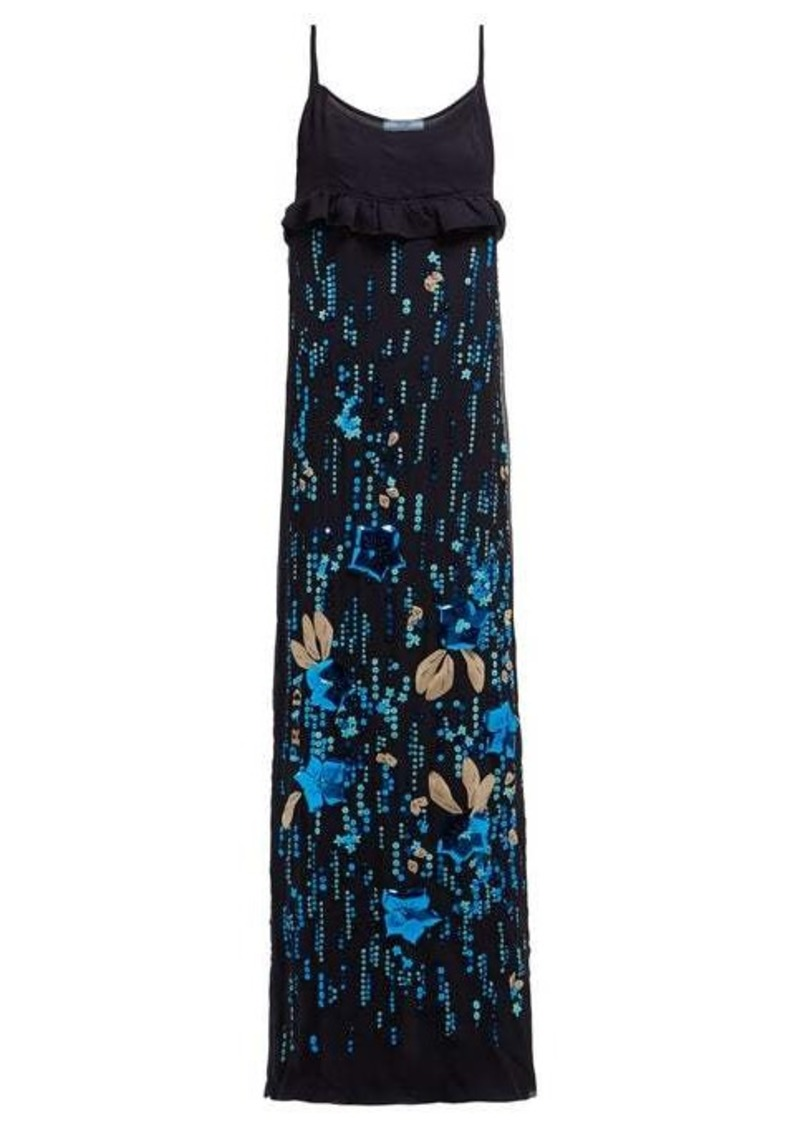 Prada Sequinned silk-chiffon gown