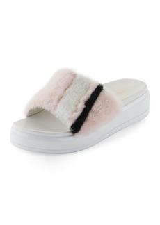 Prada Shearling Fur Flatform Slide Sandal