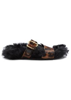Prada Shearling-lined calf-hair slides