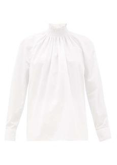 Prada Shirred high-neck cotton-poplin blouse