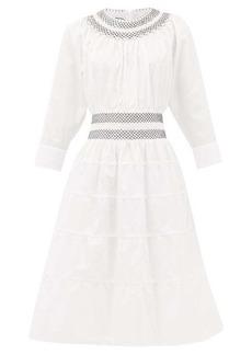 Prada Shirred tiered cotton-poplin dress