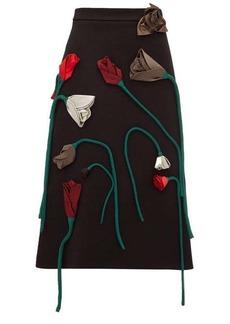Prada Silk-flower appliqué A-line wool skirt