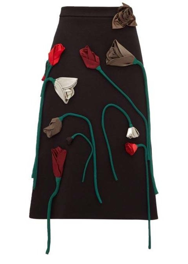 Prada Silk-flower appliqué A-line wool skirt