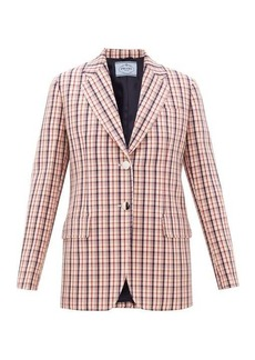 Prada Single-breasted checked wool-twill jacket