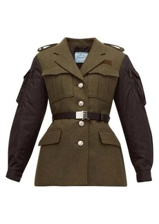 Prada Single-breasted contrast-sleeve wool jacket