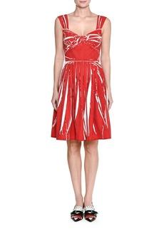 Prada Sleeveless Twist-Front Cotton Dress