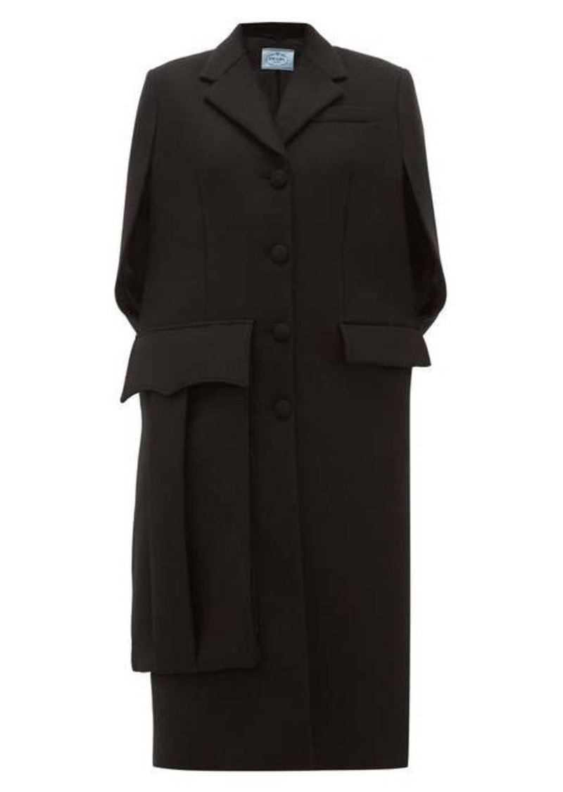 Prada Sleeveless wool cape coat
