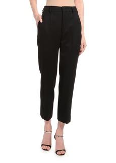 Prada Slim Wool Satin Crop Pants