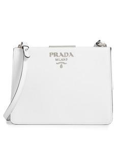 Prada Small Frame Saffiano & City Calfskin Leather Shoulder Bag