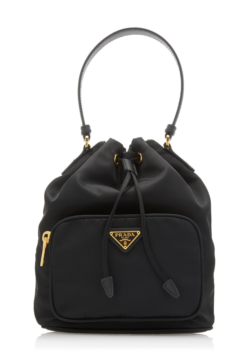 Prada Small Leather-Trimmed Nylon Bucket Bag