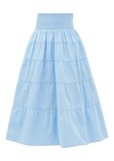 Prada Smocked cotton-poplin skirt