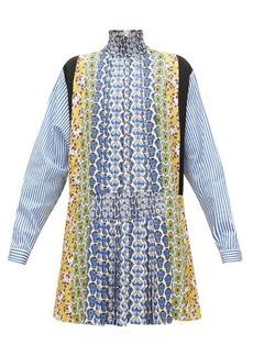 Prada Smocked high-neck floral-print panelled mini dress