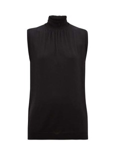 Prada Smocked high-neck wool-jersey sleeveless top