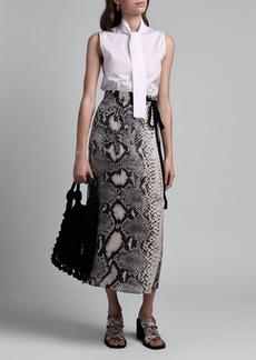 Prada Snake Print Crepe Midi Wrap Skirt