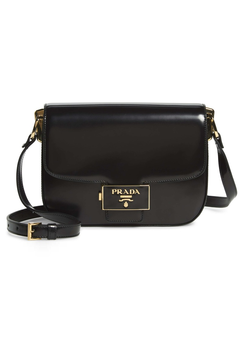 Prada Spazzolato Calfskin Flap Shoulder Bag