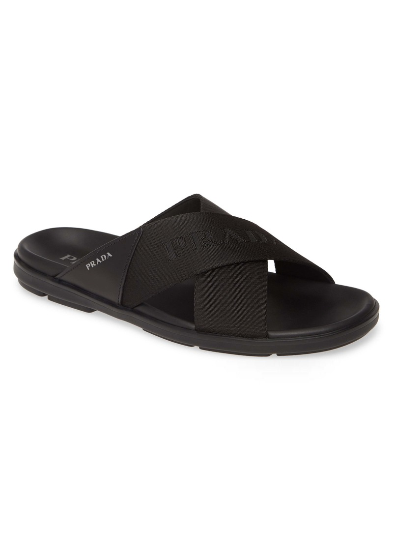 Prada Spazzolato Slide Sandal (Men)