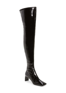 Prada Square Toe Faux Patent Leather Knee High Boot (Women)