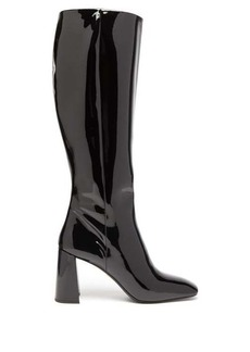 Prada Square-toe knee-high patent-leather boots