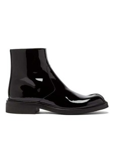 Prada Square-toe patent-leather boots
